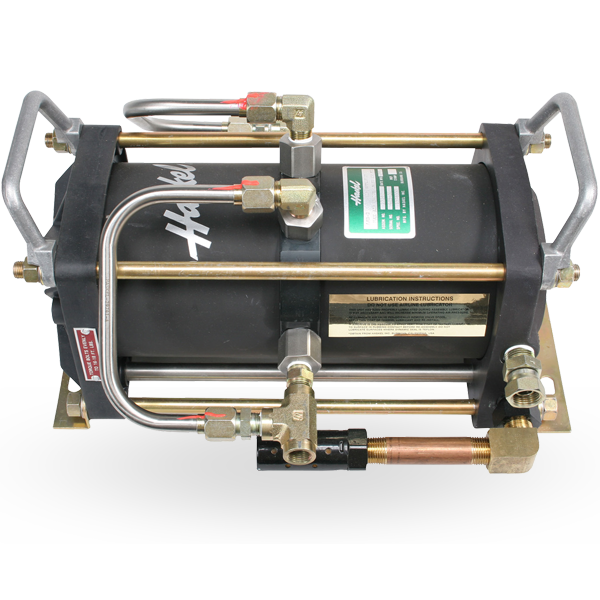 Double acting, single stage air pressure amplifier with pressure outputs 4,500 psi (310 bar).